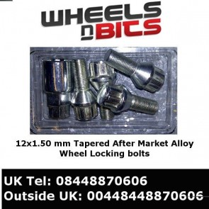 12x1.50 Tapered Alloy Wheels Lock Blots / Nut 26mm Tread