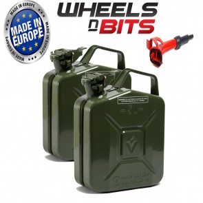 2 x NEW HIGH QUALITY METAL POWER COATED GREEN JERRY CAN 5L LITRE WITH SPOUT