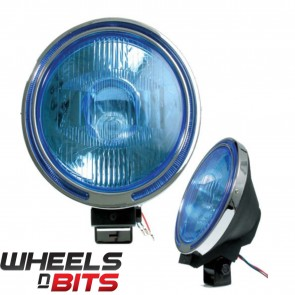 12V 9 Inch 4x4 spot lamp & Chrome Ring Blue Lens LED Ring Renault Jeeps Van