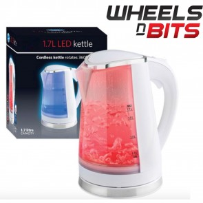 WHITE 1.7 LITRE 2200W DUAL ILLUMINATION CORDLESS JUG KETTLE FAST BOIL ELECTRIC