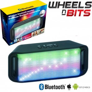 6W RMS Boombar Portable Bluetooth Wireless Speaker With Built In LEDs & Aux 28cm