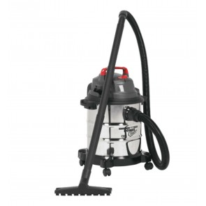 Sealey 20 Litre Wet & Dry Vacuum Hoover 1200 Watt Motor 4M Cord Stainless Steel