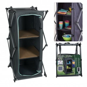 Wheels N Bits Portable Camping Storage Cabinet Folding Canvas Wardrobe Clothes Cupboard Shelf