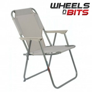Wheels N Bits Grey 1x Portable Folding Chair For Outdoor Camping Fishing Picnic Beach Seat