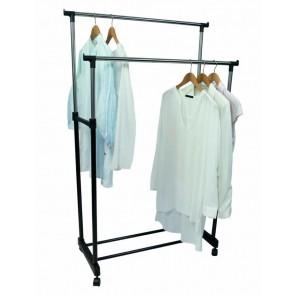 J Living 95-165cm Adjustable Double Clothes Rail Mobile Hanging Stand Garment Shoe Rack
