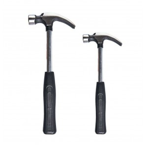 Wheels N Bits 2 pack 8oz &16oz Steel Shaft Handle Claw Hammer Rubber Grip Handle Nail Remover