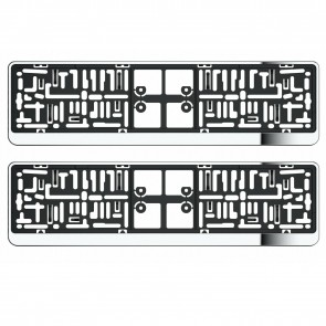 Wheels N Bits 2X Chrome Number Plate Holder Surrounds For Skoda All Model With UK Spec Plate