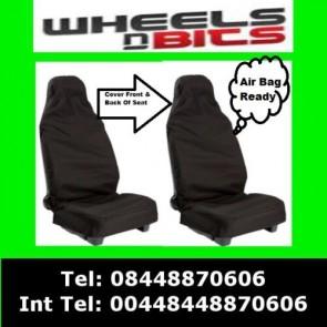 Wheels N Bits Car Seat Covers Waterproof Nylon Front 2 Protectors Black fits Saab All Models