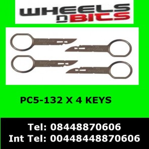 PC5-132 fits Ford CMAX 05> Stereo Radio Extraction Release Removal Keys x4
