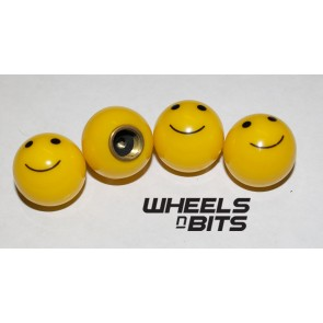 CAR VAN BIKE MOTOR QUAD SMILE SMILEY FACE VALVE CAP'S DUST DUSTIES CAP SET OF 4