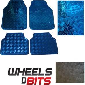 BLUE METAL Metallic Aluminium Checker Plate Look 4 pcs Universal Car Mats Set