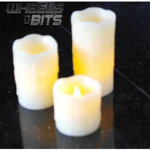 J-HOME New Set Of 3 Battery Operated LED Pillar Candles With Dripping Wax & False Wicks