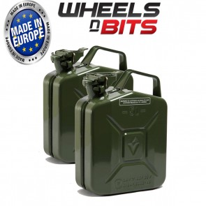 2 x NEW HIGH QUALITY METAL POWER COATED INSIDE AN OUT GREEN JERRY CAN 5L LITRE