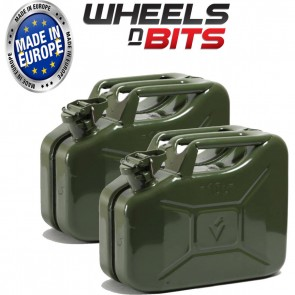 2 x NEW HIGH QUALITY METAL POWER COATED INSIDE AN OUT GREEN JERRY CAN 10L LITRE