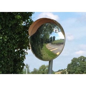 30/45/60/80cm SITE ROAD FARM ENTRANCE BLIND SPOT CONVEX MIRROR & BRACKET ORANGE