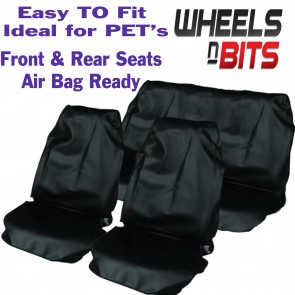 Fiat Car Van Seat Covers Waterproof Nylon Full Set Protectors Plain Black