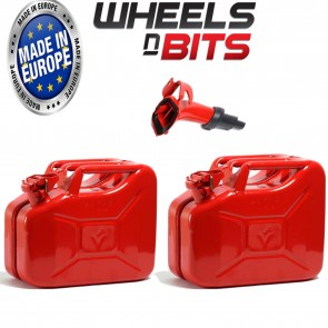 2 x RED 10L LITRE JERRY MILITARY CAN FUEL OIL WATER KEROSENE WATER WITH SPOUT