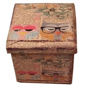 J-Home Old Wish Owl Single Seat Pu Faux Printed Leather Folding Ottoman Storeage box