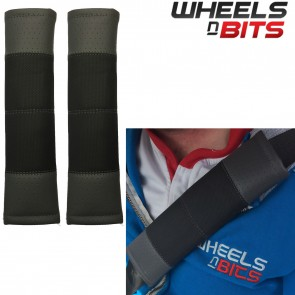 Wheels N Bits Black & Grey Stitch Seat Belt Harness Pads Should Straps PVC Leather for Volvo