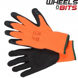 NEW Large / XL HI VIZ THERMAL WINTER BUILDERS LATEX RUBBER WORK GLOVES GARDENING