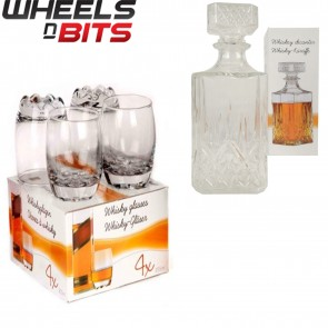 4 8 255ML GLASS WHISKEY WINE TUMBLERS & SQUARE GLASS DECANTER BOTTLE GIFT SET