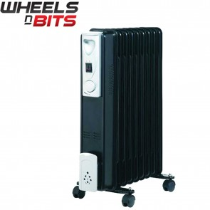 Portable 7 Fin 1500W Oil Filled Radiator Winter Heater with Thermostat in Black