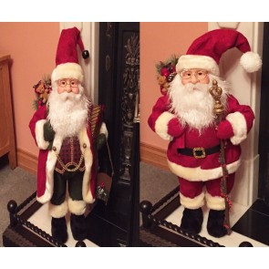 NEW XL Large 70cm Santa Claus Father Christmas Figure Xmas Decoration Fire Side