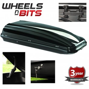 Sturdy Roof Box Metallic Black 530 Litre 75kg Capacity Weatherproof