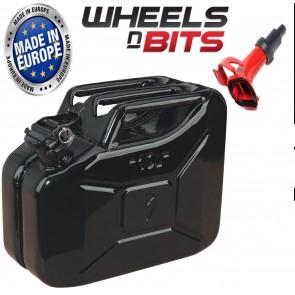 Wheels N Bits New 10 L Black Jerry Military Can Fuel Oil Petrol Diesel Storage Tank & Spout