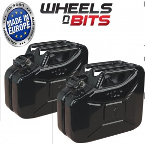 2 x 10 LITRE BLACK JERRY MILITARY CANS FUEL OIL WATER PETROL DIESEL STORAGE TANK