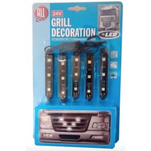 Wheels N Bits 24 Volt Grill Marker lights customisation LED White Light for Tucks Lorry HGV