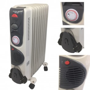 Portable 11 Fin 2500W Oil Filled Radiator Winter Heater with Thermostat in White