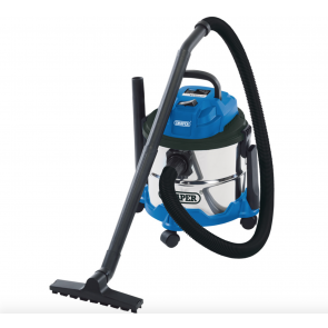 Draper 15L Wet & Dry Vacuum Cleaner Hoover Stainless Steel Tank Powerful 1250W