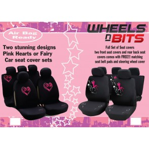 Stunning Designed Hearts / Fairy Seat Covers Full Set Universal fitting Full Set