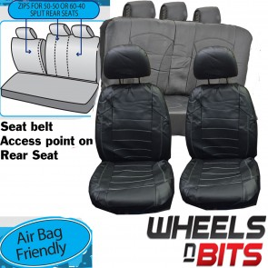 Wheels N Bits Universal Black White Stitch Leather Look Car Seat Covers Heavy Duty Full Set