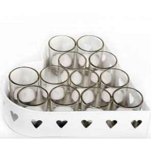 25cm 12 Tea Light Metal Heart Shaped Candle Holder Ideal Wedding Table Deco Xmas