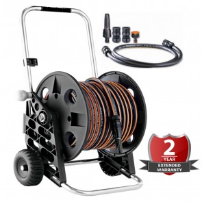 WNB 30 Metre 90FT High Quality Garden Hose Reel Cart includes 6pc Attachments