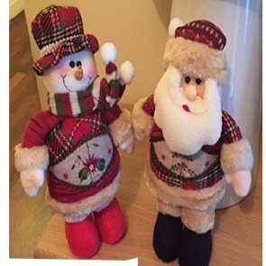 NEW 11 Inch 2pc Santa & Snowman Set Stand On There Own Christmas Decoration 500
