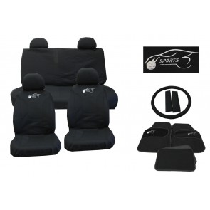 Universal Car Seat Cover Full Set 15 Pieces Black Washable + Styling Pack Ks8105