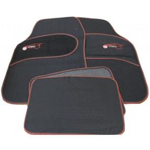 Suzuki Swift Twin Universal RED Trim Black Carpet Cloth Car Mats Set of 4