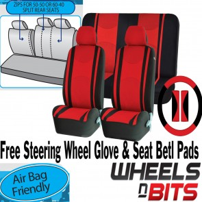 Universal Red Car Seat Covers Steering Glove Cover Shoulder Pads 3D Mesh Cloth