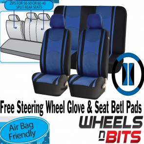 Blue Mesh Cloth Car Seat Cover Steering Glove fit Skoda Rapid Yeti Octavia Fabia