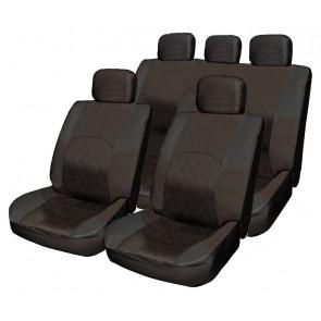 ALL Black Cloth Seat Cover Full Set Split Rear fits Fiat 500 Punto Uno Bravo