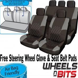 Opel Vauxhall Astra GREY & BLACK Cloth Car Seat Cover Full Set Split Rear Seat