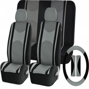 Grey Mesh Cloth Car Seat Cover Steering Glove fit BMW 1,2,3,5,6 Series X1 X3 X5