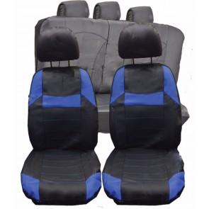 Jaguar XF XFR XJ UNIVERSAL BLACK & Blue PVC Leather Look Car Seat Covers Set