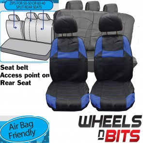 UNIVERSAL BLACK & Blue PVC Leather Look Car Seat Covers for Mitsubishi Galant