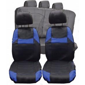BMW Mini Clubman UNIVERSAL BLACK & Blue PVC Leather Look Car Seat Covers Set