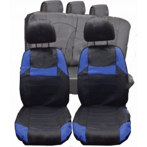Mazda 6 626 323 323F UNIVERSAL BLACK & Blue PVC Leather Look Car Seat Covers Set