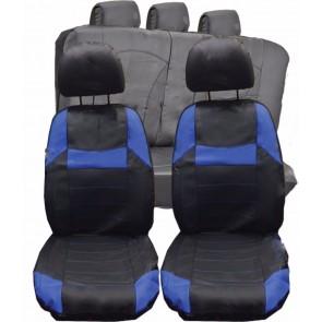 Citroen C1 C3 C4 C5 UNIVERSAL BLACK & Blue PVC Leather Look Car Seat Covers Set